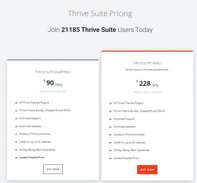 Thrive Suite-  Pricing